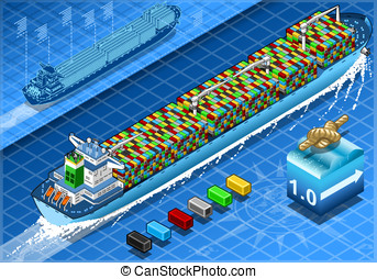 Isometric Cargo Ship with Containers in Navigation in Rear...