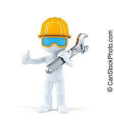 Worker with pipe wrench. Isolated over white background