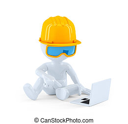 Construction worker using laptop computer. Isolated over...