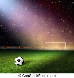 Soccer staduim - Soccer stadium, soccer ball on green...