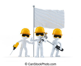 Group of construction workers with flag. Isolated on white...