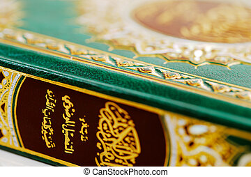 An macro image of the Quran. The Quran literally meaning...