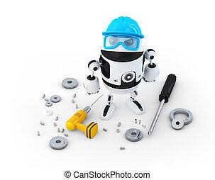 Robot construction worker with various tools. Technology concept. Isolated on white