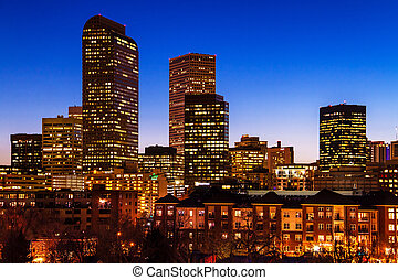 Denver Skyline at Blue Hour Mar 201 - Denver Colorado...