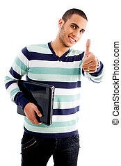 smiling boy with laptop and thumbs up with white background
