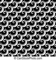 Seamless texture. Pattern with spiral elements. Vector art.