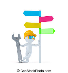 Construction worker with colorful signpost.