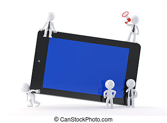 Group of business people using tablet Isolated on white...