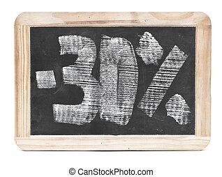 thirty percent written on blackboard