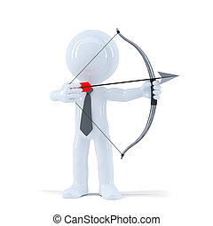 Businessman takes aim at a target with bow and arrow....