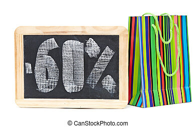 sixty percent discount written on blackboard with colorful...