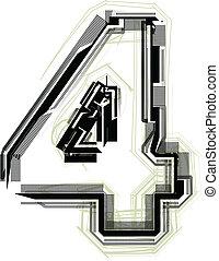 technological font. Number 4