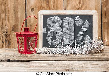 eighty percent discount written on blackboard