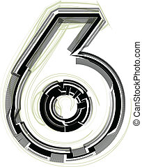 technological font. Number 6