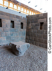 Polygonal masonry Inca brick. Coricancha,Peru, South...