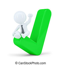 Happy businessman on top of the green check mark. Business concept