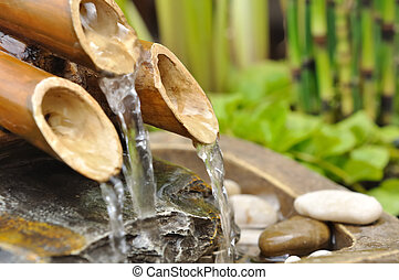bamboo fountain - water from a bamboo fountain with aquatic...