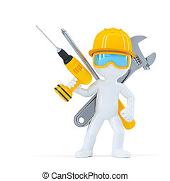 Construction workerBuilder with tools Isolated on white...