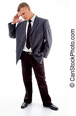 standing businessman in tension
