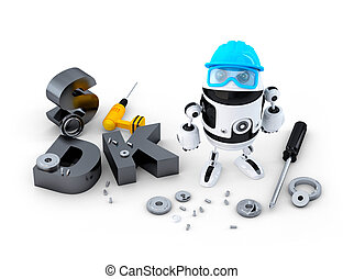 Robot with tools and SDK sign. Technology concept. Isolated...