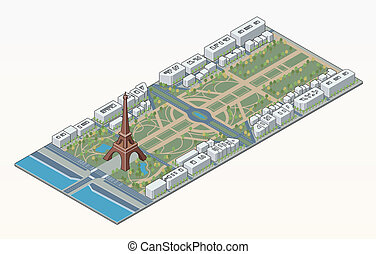 Isometric Eiffel tower and Champ de Mars