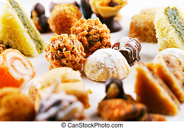 A variety of Arabic sweets - Arabic sweets are a celebratory...