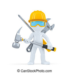 Construction worker/builder with hammer. Isolated on white...