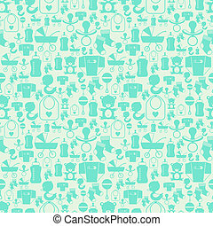 Seamless pattern with newborn baby icons