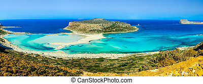 tropical panoramic image of beach in the Balos bay