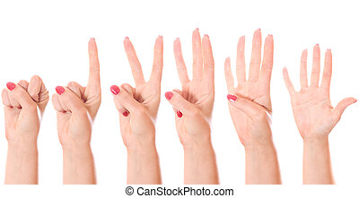 Counting hands 0 to 5 - Counting woman hands 0 to 5 isolated...