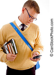 smart student wearing spectacles busy with cell phone on an...