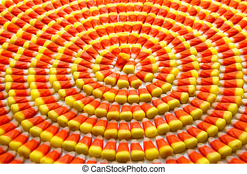 Candy Corn - Candy corn arranged in circles