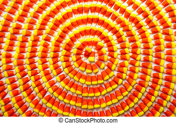 Candy Corn - Candy corn background arranged in circles