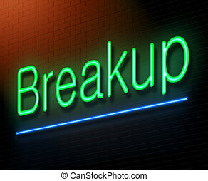 Breakup concept - Illustration depicting an illuminated neon...