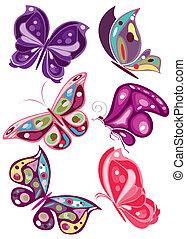 vector butterflies in colors 2