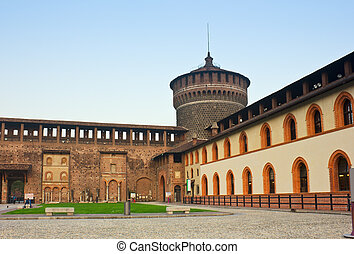 Sforza 's castle in Milan city, Italy