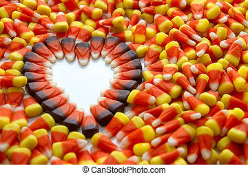 Candy Corn - Indian corn heart among candy corn