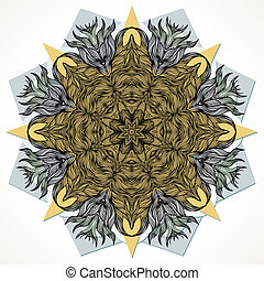 Modern mandala design - Vector round decorative ornament on...