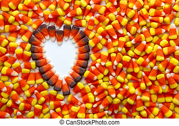 Candy Corn - Indian corn heart on candy corn background