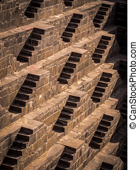 Stairs at the Chand Baori Stepwell - Multiple stairs at the...