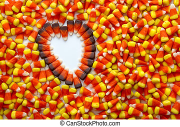 Candy Corn - Indian corn heart on candy corn candies...