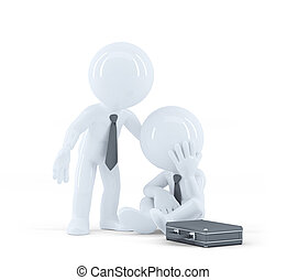 Businessman provides support to a colleague. Problems at...