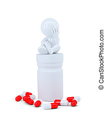 Depressed man sitting on top of the pill box