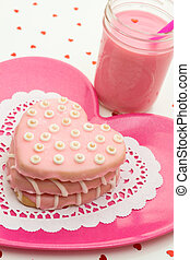 Valentine Decorated Cookies - Stacked hand decorated pink...