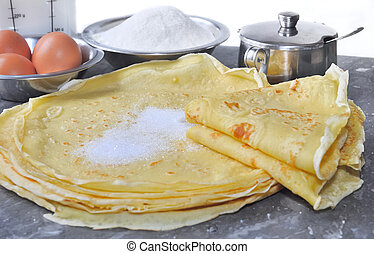 tasting pancakes - preparing pancakes and ingredients in the...