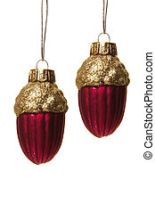 christmas decoration - red and golden christmas balls as...