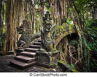 Dragon Bridge at Monkey Forest Ubud - Elaborate bridge at...