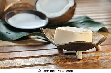 soap coconut - soap and milk with coconut arranged on a...