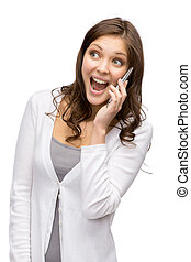 Woman speaking on cell phone - Half-length portrait of woman...