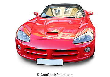 sports red car is isolated on the white